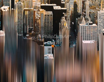Good morning Chicago, Illinois, Chicago skyscrapers, american skyline, urban photography, abstract, color photography, living room decor