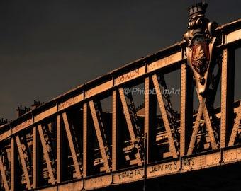 Parisian metro, Paris, France, minimalist & color photography, viaduct, metal framed, sunset, storm sky, 1900'