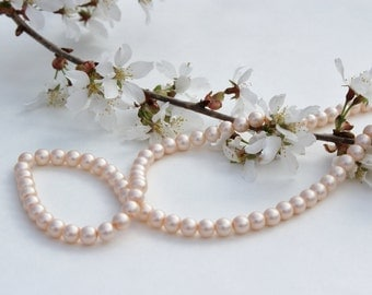 """6mm Glass Pearl Beads, Round Glass Beads, 6mm Glass Beads, Pearl Beads, Round Beads,   -  """"Matte Rose"""" Approx. 190 pcs."""