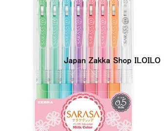 "Japanese Stationery,""Zebra  Aqueous ballpoint pen Sarasa clip 0.5 Milk 8 color set"",JJ15-8C-MK"