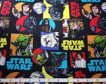 Star Wars Fabric, Yardage, Fat Quarter, FQ, Darth Vader, Hans Solo, Yoda, Leia, Anakin Skywalker, Obi Wan Kenobi, R2D2, C3PO, Stormtrooper