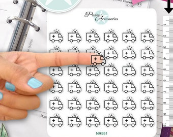 Plain Ambulance Stickers Medical Stickers Doctor Stickers Planner Stickers Erin Condren Functional Stickers Decorative Stickers NR951