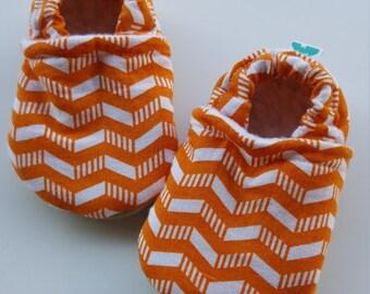 Orange, white, cheveron, Moccasins, baby crib shoes, soft sole
