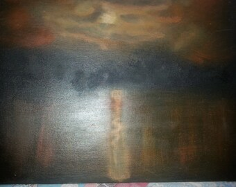 Acrylic/linseed painting sunset