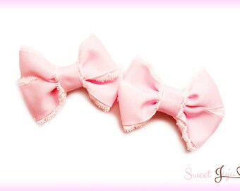 Lace Dolly Twin Ribbon Bow Clips - Set of 2 Lolita Hair Bows - Kawaii Sweet Lolita and Fairy Kei Hair Accessories
