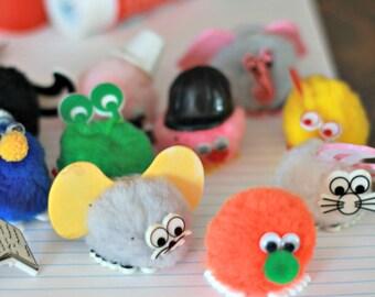 Weepuls sets of 10, fuzzy 90's sticker, 90's school, pompom sticker, craft article