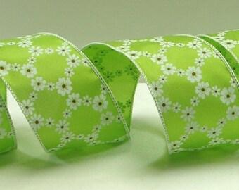 2.5 inchSpring Green Wired Ribbon with Daisy Diamonds ~ Spring Ribbon ~ Floral Ribbon ~ Ribbon For Bows ~ Craft Ribbon ~ 3 Yards