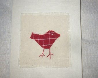 Card with appliqued Bird