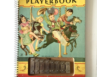 1938 Sing a Song Player Book with Built In Xylophone Antique Spiral Hardback