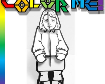 Coloring Paper Doll Girl - Printable Toy