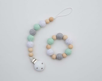 Crocheted Beads Pacifier Clip