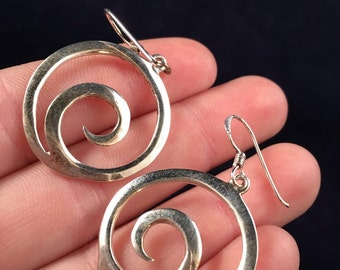 Sterling Silver Spiral Earrings- J1022
