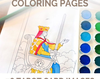 Tarot Deck Adult Coloring Pages - a tarot coloring book with all 78 tarot cards to learn tarot (perfect for a magic, witch, or pagan gift)