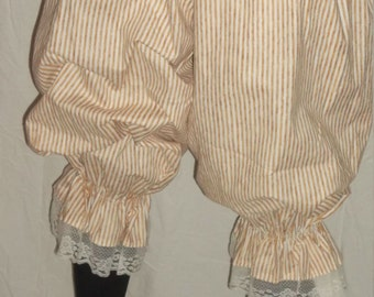 pantaloons in cream and brown stripe