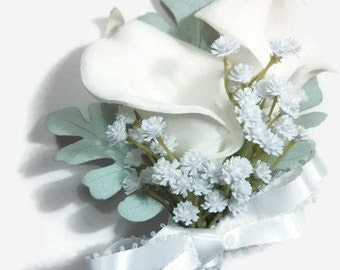 White Lily Corsage, White Calla Lily Corsage, Calla Lily Baby Breath, White Mint Corsage, White Prom Corsage, Wedding Corsage, Mint Green