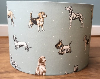 Dogs in Show Lampshade, Duck egg blue ceiling or lamp