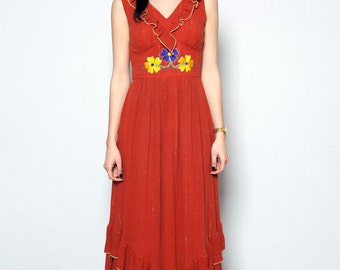 70's Vera Mont Boho Hippie Maxi Dress