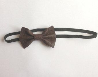 Leather Bow - Headband, Brown