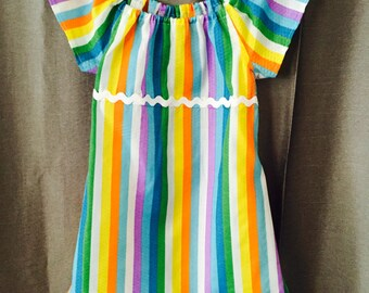 Girls short-sleeve dress,multi color stripes