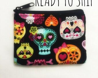 Sugar skull coin bag // pouch // change purse // Ready to Ship