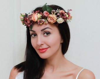 Floral crown Boho wedding Bridal flower crown Orange brown flower crown Bridal floral headband Wedding hair wreath Bridesmaid crown