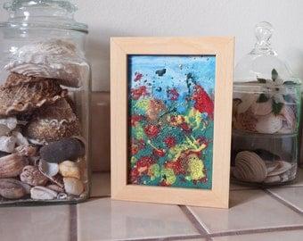 house warming original painting encaustic 4x6 Garden of Joy #2
