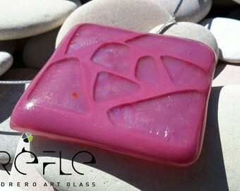 Abstract Pink fused glass pendant necklace