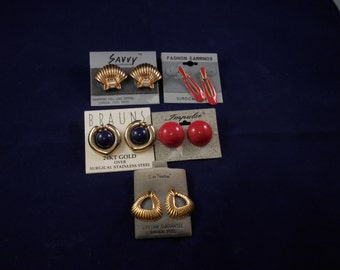 Five Pairs of Earings 24krt Gold Plated All Surgical Steel Gold with Swarovski  Crystals