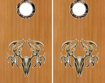 "Tribal Buck Skull Camo 18"" Cornhole Board Baggo Decal Stickers W/ Hole Rings"