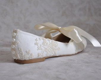 Ivory bridal flats lace bridal flats wedding shoes with bow ivory wedding shoes lace wedding flats  embellished shoes ivory wedding shoes