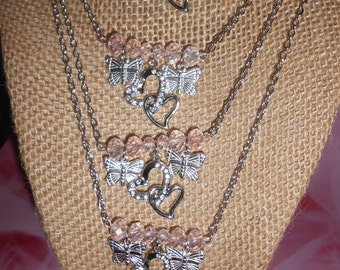 Hearts & butterfly charm glass beaded necklace