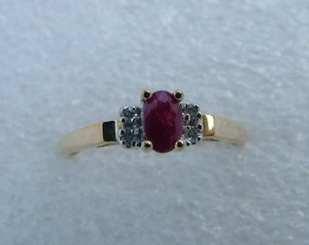 Gold ruby and diamond ring-Dainty Ruby ring with side diamonds