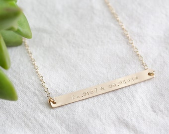 Custom Coordinate Necklace - Latitude Longitude Necklace - Custom Location Jewelry - Personalized Gold Bar Coordinates - Mother Gift For Her