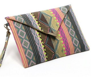 Envelope Clutch, Geometric Print, Canvas, Boho Bag, Hippy, Clutch Bag, Clutch Purse, Modern Purse