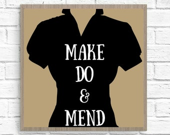 18 x 24 (5) Make Do & Mend Silhouette Fashion Form Graphic Art Prints