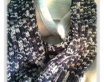 Men's Scarf or Women's Scarf, Hand Knitted Multicoloured, Very Long, Very Soft