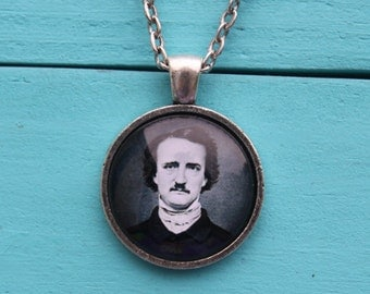 Edgar Allen Poe necklace literary geeky gift