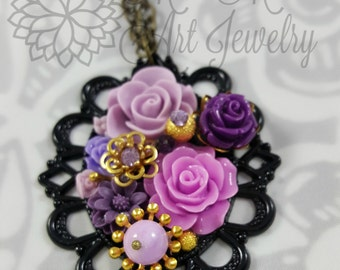 Purple and gold necklace, OOAK, Statement necklace, Laker, Vintage, Victorian, Sweater Chain, Floral, Romantic, Shabby Chic, Fashion jewelry