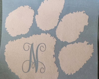 Clemson Paw with Initial