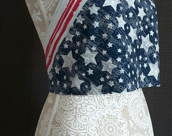 Bandana Halter Crop Top Shirt - Red White Blue - American Flag Stars USA Style Clothes - Womens Clothing Adjustable Size S-M Tie Backs New