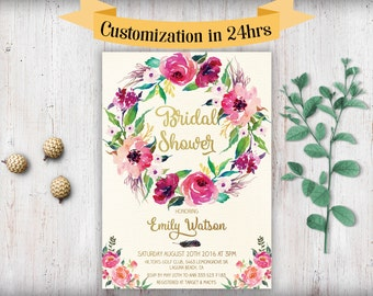 Bridal Shower Invitation  Printable Boho Bridal Shower Invitation Template Download Printable Bridal Shower Invitation Floral Watercolor Diy