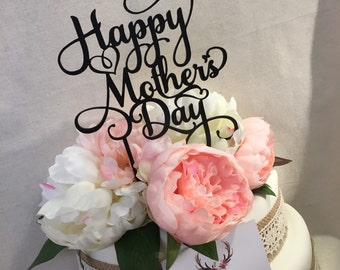 Happy Mothers Day Swirly Cake Topper Cake Topper Cake Decoration Boho Cake Decoration Rustic Cake Mum Mom Mothers Day Sugar Boo Cake Toppers