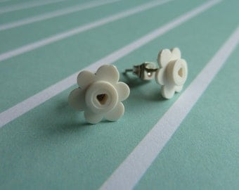 White flower Lego® earrings - hypoallergenic - quirky kitsch fun gift