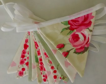 Bunting in green and pink rose and heart designs - various lengths made to order