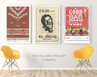 poster dollars trilogy, sergio leone poster, film poster, the good the bad and the ugly poster, wester film poster, wanted poster, funny art