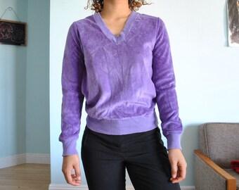 Vintage sz SM Purple crushed velvet shirt/ sweater