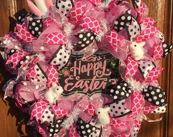Deco Mesh Bunny Wreath / Happy Easter Wreath / Deco Mesh Easter Wreath / Polka Dot Spring Wreath / Deco Mesh Polka Dot Wreath