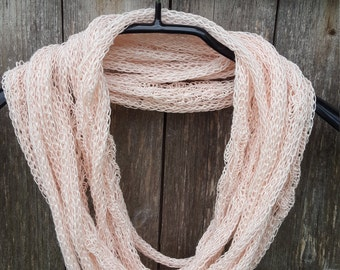 Unique handmade scarf Linen Necklace pale pink knit linen natural necklace linen jewelry lace necklace fashion accessories gift for her