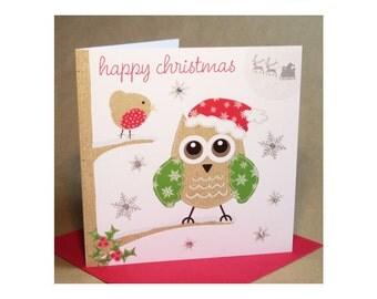 Christmas Owl Card  (jewelled)