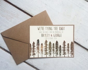 we're tying the knot gold foil winter wedding save the date, rustic save the date, rustic wedding